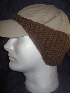 Pattern for Crocheted Baseball cap Earwarmer   Perfect gift for Wayne - use reflective yarn.
