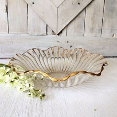 Vintage Ruffled Glass Serving Bowl with Gold by seedlingplantation, $23.00