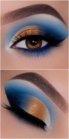 Blue Eyeshadow Makeup, Gold Eyeshadow Looks, Smokey Eye Makeup Look, Blue Smokey Eye, Silver Eyeshadow, Silver Makeup, Soft Makeup Looks, Subtle Makeup, Azul Royal
