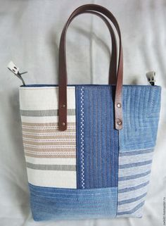 I like the fabric choices Denim Tote Bags, Tote Purse, Patchwork Bags, Quilted Bag, Creative Shoes, Handmade Purses, Embroidered Bag, Diaper Bag Backpack, Fabric Bags
