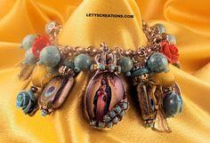 Catholic Virgin Mary OL of Guadalupe, Milagros Religious Medals Charm Bracelet #Handmade #HolyMedalPendantCharmMilagros www.letyscreations.com