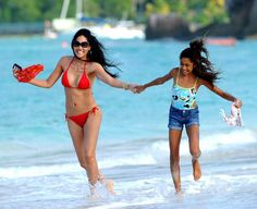 Kimora Lee Simmons during a vacation in St. Bart's with her daughter in December 2012...