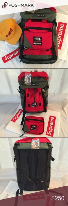 Supreme X North Face Backpack BNWT Supreme X The North Face Backpack.  Army green and red.  Detachable front pocket. Adjustable Straps, Eco-Friendly, Insulated, Laptop Sleeve/Protection, Machine Washable. ⏩Bundle with the Supreme Paris Hat for a 10% discount⏪ Supreme Bags Backpacks
