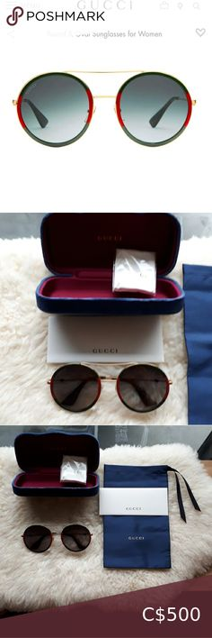 """💯Authentic Gucci sunglasses BNIB Brand new!! Retails for $700+ PRODUCT DETAILS Style461703 I3330 2330 Gold metal frame with green rim Gold metal temples with green tips Green shaded lens 100% UVA/UVB protection GG0061S Frame height 2.5"""" Frame width 5.5"""" Made in Japan Glasses come with a navy velvet hard case, nasy-silk draw string pouch, a microfiber cloth and certification card Gucci Accessories Sunglasses Sunglasses Box, Gold Aviator Sunglasses, Gucci Accessories, Sunglasses Accessories, Chanel Glasses, Marc Jacobs Purse, Green Tips, Gucci Bamboo, Vintage Gucci"""