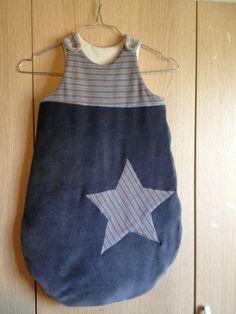 Gigoteuse en jersey velours gris doublé en jersey coton écru 3-6 mois. : Mode Bébé par l-atelier-de-cissou
