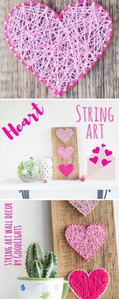 Minimalist 3 heart string art wall decor in pink.