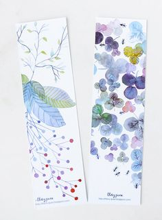Flower Botanical Watercolor Bookmarks/Pastel Blue Bookmarks/Set of Two Floral Bookmarks —thevysherbarium on etsy
