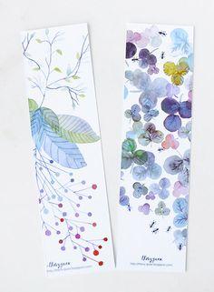 Flower Botanical Watercolor Bookmarks/Pastel Blue Bookmarks/Set of Two Floral…