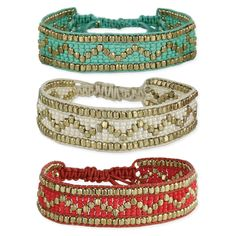 Gold and Bead Chevron Friendship Bracelet
