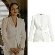 Fallon Carrington wears an altered version of this white Alexander McQueen classic double-breasted suiting blazer on Dynasty Casual Skirt Outfits, Classy Outfits, Casual Dresses, Girl Outfits, Formal Outfits, Casual Wear, Dynasty Clothing, Mode Instagram, Professional Outfits