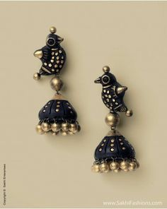 Stunning terracotta necklace and earring set in antique gold and black finish inspired by the beautiful peacock. http://www.sakhifashions.com/at-0001-peacock-splendor-1.html
