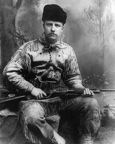 Theodore Roosevelt photographed in his hunting suit