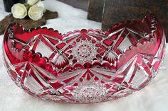 Val St Lambert Coupe 2911/17 Cristal doublé rouge à l'or taille riche - Design nr 116 - Catalogue 1908 - 33 cm.