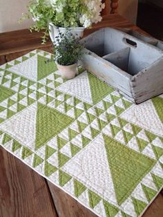 Fabulous! Antique 1880's Over Dyed Green Backet Crib Or Table Quilt 31x20 www.vintageblessings.com