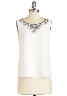 Added Sparkle Top. Style yourself in the stylish shimmer of this white tank top! #gold #prom #modcloth