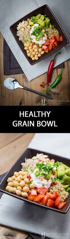 Healthy Grain Bowl - {NEW RECIPE} Buddha bowls and grain bowls are very popular at the moment. Try this healthy grain bowl for a nutritious lunch or dinner. Omit the yogurt if you're vegan.