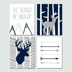 This navy and mint deer nursery art set is perfect for your baby boy! It features four 8x10 prints... Woodland Deer, Herringbone Deer, Be Kind Be Brave Quote, and Arrows. Customize in the colors of your choice! Want a different size? Just ask!  This print set is shown in Navy, Pale Mint, and Gray, but I can do it in any colors you want! Just let me know which colors you would like in the note to seller section at checkout. Each piece is freshly printed to order on Ultra Premium Luster…