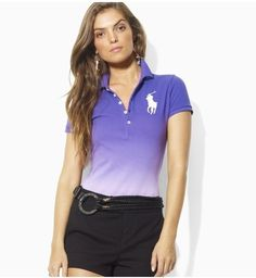 Replica Ralph Lauren Big Pony Dip-Dyed Short-Sleeved Custom-Fit Cotton Mesh