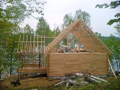 Construction charpente de maison log et structure de toit