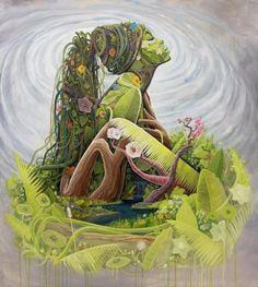BK The Artist Mother Earth Surreal Portrait Exhibit Black Art, Black Women Art, Painting Inspiration, Art Inspo, Art Et Nature, Nature Pics, Art Watercolor, Ouvrages D'art, Goddess Art