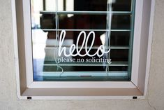 Hello No Soliciting Vinyl Decal Sign. It is removable. Not reusable. It has the appearance and texture of regular printer paper - but thicker. It has a thickness of 3 mil. It has an outdoor durability of 3 years.