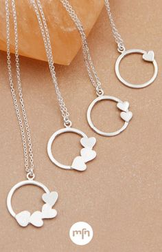 How many little loves are in your life? Cherish them with a tiny sterling silver heart, one for each child or grandchild! Every heart is featured on a sleek ring pendant, symbolic of the way children and grandchildren truly complete your family circle. Family Circle, Meaningful Jewelry, Inspirational Message, Design Show, Grandchildren, Sterling Silver Necklaces, Jewelry Accessories, Hearts, Love