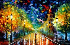 Leonid Afremov Gold Winter oil painting reproductions for sale