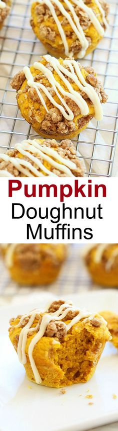 Pumpkin Doughnut Muffins – amazing muffins topped with cream cheese icing over a sweetened crumble. Easy recipe and fail-proof recipe! | rasamalaysia.com