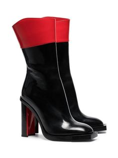 Alexander McQueen Black And Red Hybrid 105 Leather Boots Farfetch - Leather Boots - Ideas of Leather Boots - Shop Alexander McQueen black and red hybrid 105 leather boots High Heel Boots, Shoes Heels Boots, Heeled Boots, High Heels, Sneaker Boots, Baskets, Red Sandals, Red Boots, Black Leather Boots