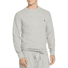 Polo Ralph Lauren Waffle Knit Long Sleeve Lounge Top ($50) ❤ liked on Polyvore featuring men's fashion, men's clothing, men's shirts, andover heather, polo ralph lauren mens clothing and j crew mens clothing