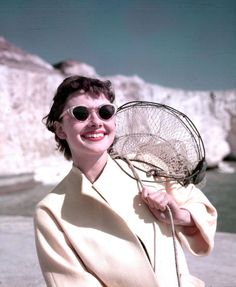 Audrey Hepburn on the beach at Rottingdean, East Sussex, 1951