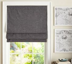 Emery Linen/Cotton Cordless Roman Shade #potterybarn (This would look great in the kitchen to cover the garage door with windows from the kitchen)