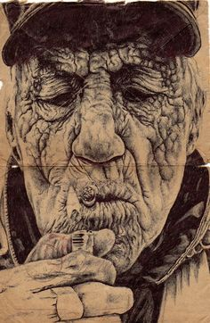 Bic Biro Drawings on Vintage Envelopes by Mark Powell