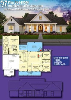 4 Bedroom House Plans, New House Plans, Dream House Plans, The Plan, How To Plan, 2000 Sq Ft House, Farmhouse Floor Plans, House Layouts, The Ranch