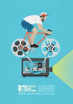 A poster for the Bicycle Film Festival Cape Town 2012. It is this first time this event will held in Cape Town. Work done at KingJamesRSVP.