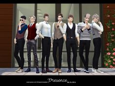 Presence (male) poses sets at flower chamber via sims 4 updates check more at The Sims, Sims Cc, Sims 4 Black Hair, Sims 4 Cc Skin, Group Poses, Standing Poses, Selfie Poses, Selfies, Sims 4 Update