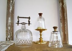 Antique Glass Cloche Terrarium Cover Brass Handle by BirdinHandVTG, $46.00