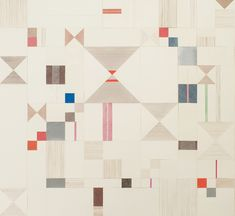 Lena Wolff. Red, Blue and Brown Paper Quilt, 2008  multiple panel paper quilt / paper collage with watercolor, hole punch and pinpricks on paper  46 x 56 inches