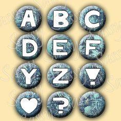 Alphabet Blue Grunge Texture 1 Inch Buttons by SassyCraftsBoutique, $2.22