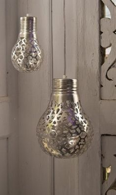 Silver Arquette Lamps From Plumo - small lamp £ 79 & large £ 139.    OR DIY craft using these sites as guides: http://www.ehow.com/how_5548795_paint-light-bulbs.html       http://www.ehow.com/how_7706524_paint-glass-light-bulbs.html