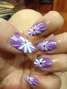 Marble flower nailart