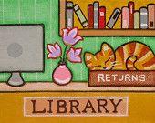 Dewey The LIBRARY CAT Folk Art PRINT - By Jill
