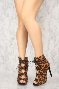 15a7de678c84 Sexy Leopard Cut Out Peep Toe High Heels Booties Faux Suede