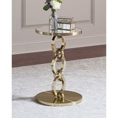 Bernhardt Golden Bracelet Side Table ($799) ❤ liked on Polyvore featuring home, furniture, tables, accent tables, gold, bernhardt table, bernhardt, hand made furniture, handmade tables and bernhardt end table