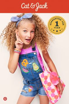 These Cat & Jack overalls pack tons of personality into every outfit with their totally on-trend patches. Overalls are perfect for layering over tees or swim suits for play dates or pool day—just add in a headband and oversized tote for the perfect combo of cool and cute. Plus, with a 1 year guarantee backing them up, she can wear them until she outgrows them!