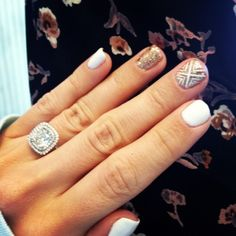 Idk if I should stare at the cute nails or the drop dead gorgeous ring!!!