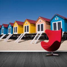 Fotobehang strandhuisjes | Maak het jezelf eenvoudig en bestel fotobehang voorzien van een lijmlaag bij YouPri om zo gemakkelijk jouw woonruimte een nieuwe stijl te geven. Voor het behangen heb je alleen water nodig!   #behang #fotobehang #print #opdruk #afbeelding #diy #behangen #strand #zand #kust #strandhuis #strandhuisjes #kleuren
