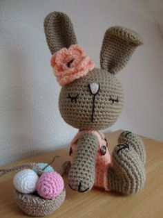 Crochet bunny -  I don't think there's a pattern. Hard to say, I think it's in Swedish or something. Many cute crafts on her blog, though.