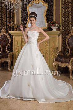 Ball Gown Wedding Dresses Strapless Court Train Organza Satin Ivory 01001020048