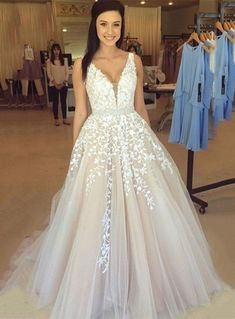 Chicmall.com suppliesChic Charming V-Neck Appliques Tulle Prom Floor Length 2017 Evening Gowns Long Evening Dresses